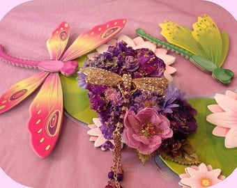 "Large ""Dragonfly trendy"" flower power brooch romantic Bohemian"