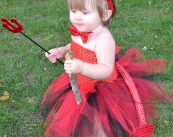 25% off SALE lil devil tutu dress costume with wand, bow tie, horns, and tail