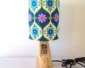 Hand turned wooden lamp base with 70s vintage fabric shade