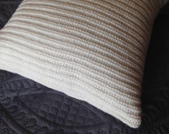Sweater pillow - cream, ivory throw pillow - 12 by 12 inch pillow