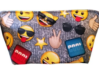 "Wedge ""Emoji on Gray"" Cosmetic/Accessory Bag"