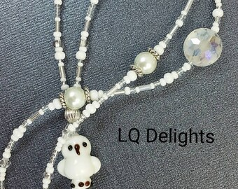 Beaded Lanyard White Snow Owl Vacation Cruise ID Badge Holder LQ Expressions
