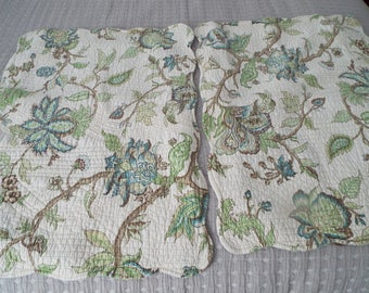 Green Blue Floral Pillow Shams Girls Room Dorm Camper RV Cottage Chic Botanical Earth Tones Quilted Scalloped