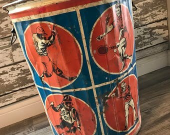 Vintage Industrial Rare Sports Metal Trash Can Skiing Golf Baseball Tennis