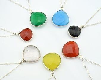ON SALE Gemstone pendant necklace, bezel set necklace, Layered Necklaces, Large Drop Gemstone necklace, Framed Stone Pendant, Layering Jewel