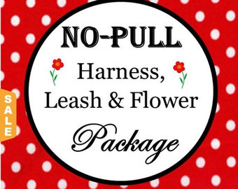 Puppy Love Sale - 40% Off No Pull Harness, 6 FT Leash & Flower Package - Available in all Dog Collar Listings - Fabric name is i