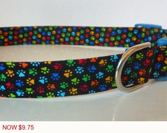 "Sale - 50% Off - Paw Print Dog Collar - Multi Colored Tiny Paw Prints - ""Tiny"" Free Colored Buckles"