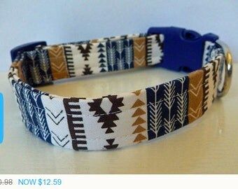"Sale - 40% Off Modern Unisex Aztec Brown Navy & Tan Stripes and Arrows Dog Collar ""Jacob"""
