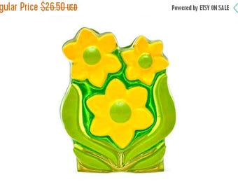 ON SALE 60s Lucite Lily Napkin Letter Holder Green Yellow Translucent Kitsch