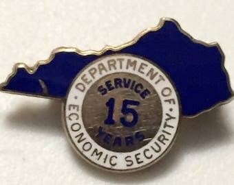 West Virginia Department of Economic Security 15 Year Service Pin Gold Filled and Enameled Lapel Pin Hat Pin