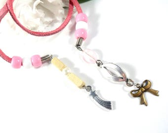 Pink Book Thong for Book Club Gifts, Book Mark, Beaded Bookmark Suede Bookmark Book Accessories Charm Bookmark Party Favors, Book Lover Gift