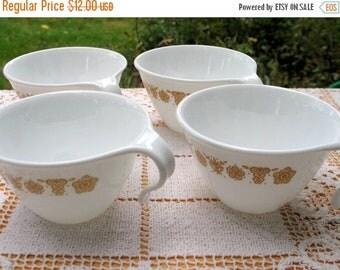 17% OFF SALE Set of Corelle Cups/Corelle Butterfly/ 4 Open Handle Cups/ Hanging Coffee Cups/ Corelle Livingware/Harvest Gold Decor/ Retro 70