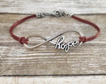 Infinity of Hope Leather Cord Bracelet - Customizable Colors *50% of profits are donated to The American Foundation for Suicide Prevention