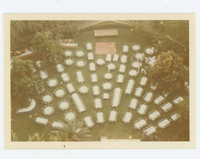 Catered Event, Overhead View, 1960s-70s: Vintage Photo Snapshot (75584)