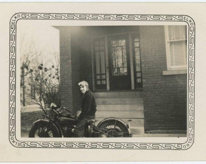 """Vintage Snapshot Photo: John on his """"Indian"""" Motorcycle, 1941 (78602)"""