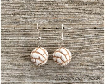 White Concha Pan Dulce Earrings