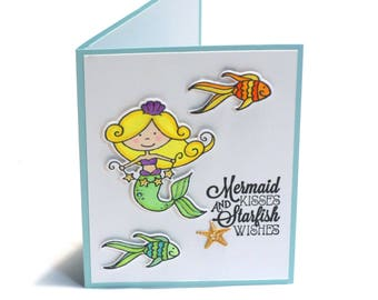 Little Mermaid Kisses and Starfish Wishes, Ariel, Fish blank card, cute card for kids, children