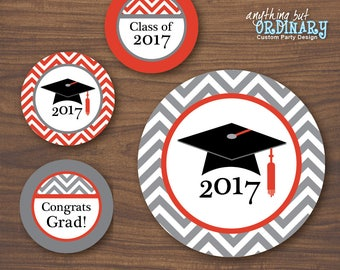 Class of 2017 Graduation Party Centerpiece Signs, Red and Gray Printable Grad Signs, INSTANT DOWNLOAD, DIY digital file