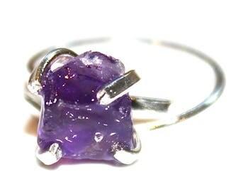 Raw Amethyst Ring Rustic Amethyst Ring Sterling Silver Ring Purple Ring Hammer Cut Amethyst Raw Stone Ring Adjustable Ring Amethyst Jewelry