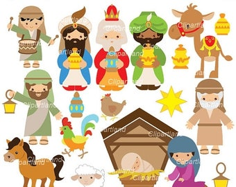 ON SALE INSTANT Download. Ccnat_2_Nativity. Nativity clip art. Personal and commercial