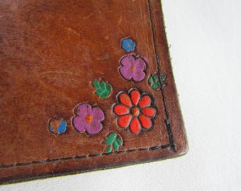 Vintage 1960's 1970's Brown Tooled Leather Wallet Painted with Pink and Purple Flowers