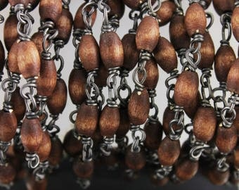 Wood Rosary: Prayer Beads-Rosary-Prayer, Rosary-Natural wood Rosary-Catholic Rosary-- 4x8 mm Bicone-- Sold By the Foot, (RON-BNUT-01)