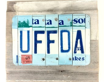 License Plate Sign - Uffda Sign - Uff Da Sign - Minnesota Uffda - Blue and White Sign,Rustic Reclaimed Wood Sign,Norwegian Gift,Mancave Sign