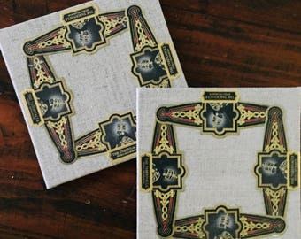 2017 Cigar Band Collage Coaster: Tabernacle (set of 2)