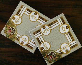 2017 Cigar Band Collage Coaster: Nica Puro Oliva (set of 2)