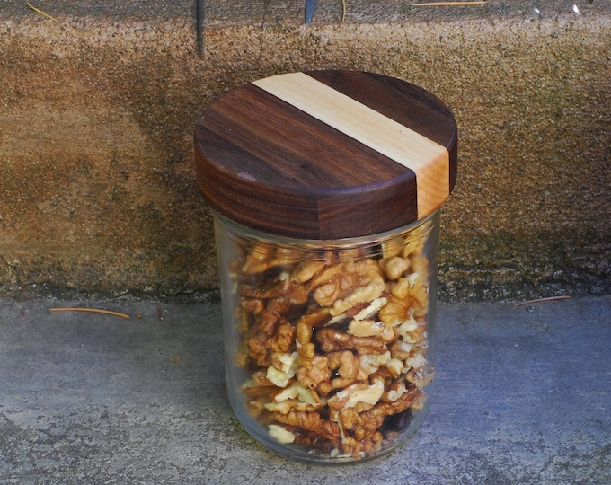 Wide Mouth (3) Wooden Mason Jar Lids with Seal - True screw top - Walnut/Maple