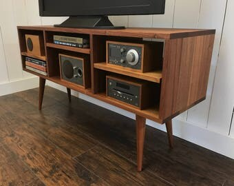 Mid Century Modern TV U0026 Stereo Cabinet Or Media Console, Sapele Mahogany  With Tapered Wood