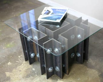 Industrial Coffee table/end table. Modern design,  (mid century, steel, custom sizes available)