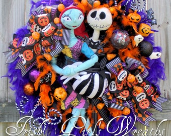 Pumpkin King large pre-lit Nightmare Halloween wreath, Jack & Sally Skellington, jack o lantern lights, Purple Halloween black, orange