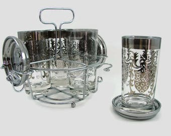 Kimiko Silver Knight Bar Set, 4 Silver Band with Centurion Glasses, 4 Silvered Glass Coasters, Chrome Carrier Rack