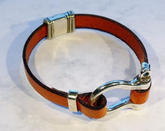 Mixed small Manila rope and leather bracelet.