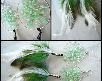 Chrysoprase Bohemian Hippie Dream Catcher Earrings in Silver with Hand Arranged Feathers by The Emerald Lotus