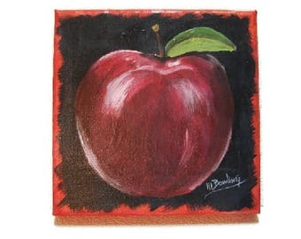 "Clearance! - Red Delicious Apple, 6""X6"" Canvas, Acrylic hand painted"