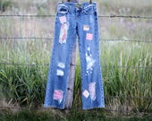 Patched Miss Me Upcycled Ripped Frayed Jeans Tattered Artsy Clothing Women Junior Fashion Denim Artwear Chambray