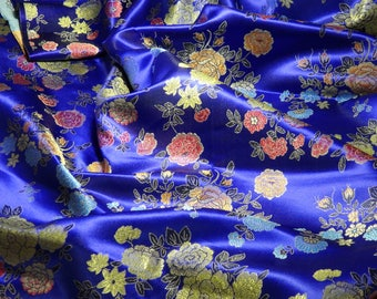 Chinese satin brocade in royal blue - ONE yard, vivid blue satin brocade fabric, blue floral brocade for clothing, home decor - 1 yd.