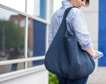 navy blue shoulder bag, large hobo canvas with leather, oversize handbag, dark blue hobo, zippered bag, casual bag, xxl hobo bag, slouch bag