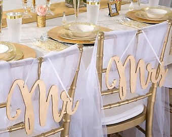 Mr And Mrs Sign Bride Groom Signs Chair Signs Wedding Chair Sign Classic  Gold Or Silver
