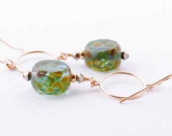 Mint Green Boho Earrings,  Dangle Bohemian Earrings,  Gold Fill Earrings, Earthy Brown Green Earrings