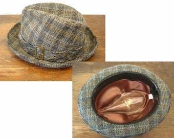 1970s Vintage STETSON Wool Fedora Hat Blue & Yellow Plaid Tweed Wool Mens Fedora Hat by Stetson - SIZE 7