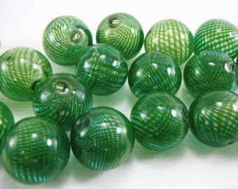 10 Pcs Handmade Blown Glass Blue/Green Color Beads 20mm Diameter, 2mm Hole B019