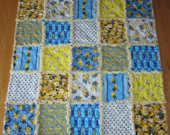 Baby MINION Rag Quilt Despicable Me Fabric Minions Blanket