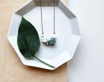 Evie Necklace   Geometric Beads   Green Duo