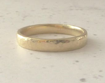9ct Yellow Gold Wedding Band - Hammered Wedding Band - 9ct Yellow Gold Wedding Band - 3mm