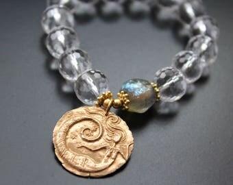 Rock crystal and mermaid charm bracelet - Lampwork Basha bead bracelet - Dream charm bracelet - Boho stretch bracelet - Hippie chic jewelry