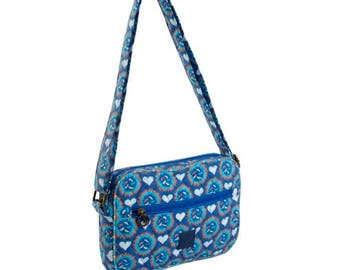 Quilted Cross-body bag. Messenger bag. Multi pocket purse. Shoulder bag heart print