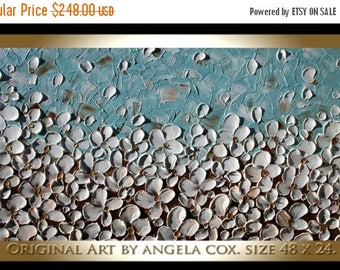 SALE Original Modern  Heavy  Impasto  Textured  White Flowers   Acrylic Palette Knife Landscape   Painting.
